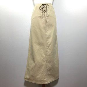 VTG 90's OLD NAVY Khaki Tan Maxi Skirt Size 10